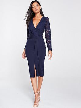 v-by-very-tie-front-scuba-lace-pencil-dress-navy