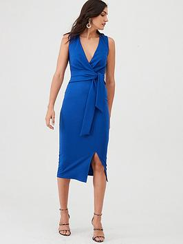 v-by-very-knot-front-stretch-bodycon-dress-blue