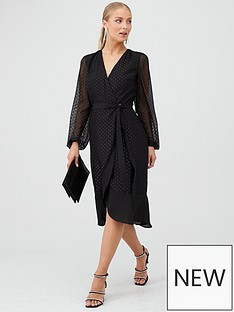 v-by-very-ruffle-hem-metalic-dobby-wrap-dress-black