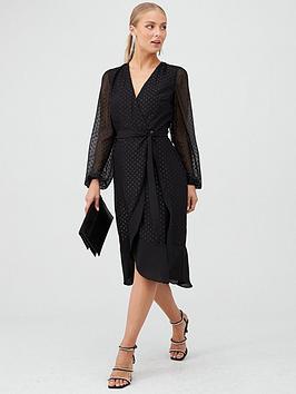 v-by-very-ruffle-hem-metalic-dobby-wrap-dress-black