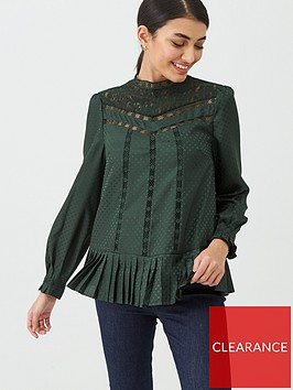 ted-baker-shilli-animal-mesh-lace-swing-top-dark-green