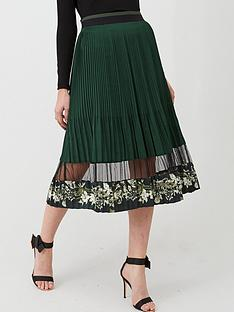 ted-baker-boniiee-mesh-panel-pleated-midi-skirt-khaki