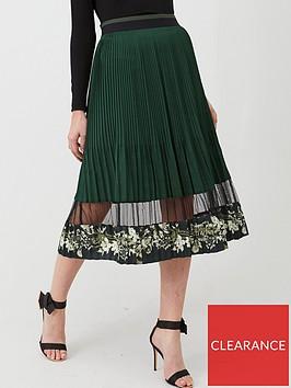 ted-baker-boniiee-mesh-panel-pleated-midi-skirt-khaki