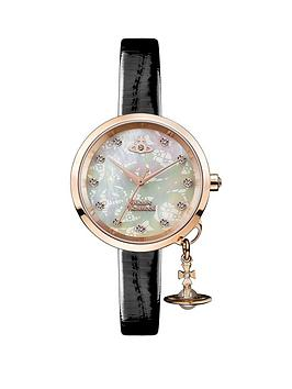 vivienne-westwood-vivienne-westwood-bow-ii-mother-of-pearl-and-rose-gold-detail-orb-charm-dial-black-leather-strap-ladies-watch