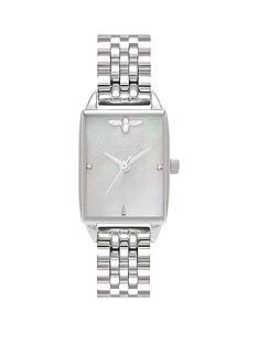 olivia-burton-olivia-burton-bee-hive-grey-mother-of-pearl-tank-dial-stainless-steel-bracelet-ladies-watch