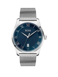 boss-boss-master-blue-textured-and-silver-detail-date-dial-stainless-steel-mesh-strap-mens-watch