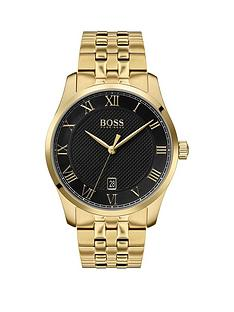 boss-master-black-textured-and-gold-detail-date-dial-gold-stainless-steel-bracelet-mens-watch