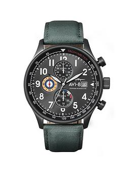 avi-8-avi-8-hawker-hunter-green-chronograph-dial-green-leather-strap-mens-watch