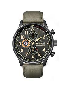 avi-8-avi-8-hawker-hurricane-black-date-dial-brown-leather-strap-mens-watch