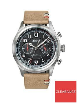 avi-8-avi-8-flyboy-lafayette-black-chronograph-dial-brown-leather-strap-mens-watch