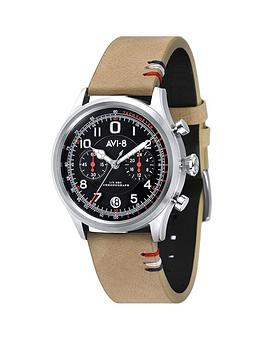 avi-8-avi-8-hawker-harrier-ii-gunmetal-grey-and-gold-detail-chronograph-dial-army-green-leather-strap-mens-watch