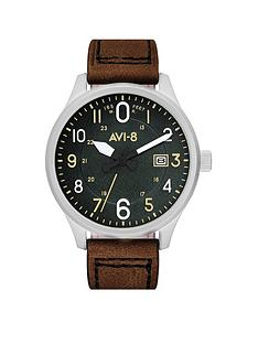 avi-8-avi-8-hawker-harrier-ii-green-and-silver-detail-chronograph-dial-beige-and-green-leather-strap-mens-watch