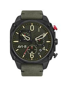 avi-8-avi-8-hawker-hurricane-gunmetal-grey-chronograph-dial-dark-green-leather-strap-mens-watch