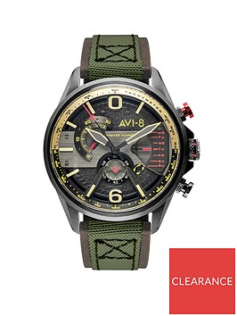 avi-8-avi-8-hawker-hurricane-gunmetal-grey-chronograph-dial-army-green-leather-strap-mens-watch