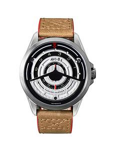 avi-8-avi-8-hawker-harrier-ii-silver-and-black-detail-dial-brown-leather-strap-mens-watch