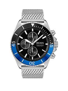 boss-boss-ocean-edition-black-and-blue-detail-chronograph-dial-stainless-steel-mesh-strap-mens-watch