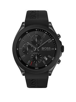 boss-boss-velocity-black-textured-chronograph-dial-black-silicone-strap-mens-watch