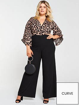 ax-paris-curve-two-in-one-frill-sleeve-jumpsuit--nbspleopardnbsp