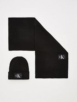 calvin-klein-knitted-scarf-amp-beanie-set-black