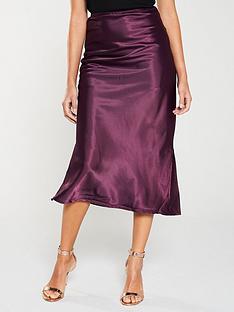 ax-paris-satin-midi-skirt-plum