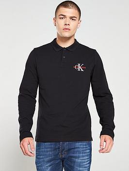 calvin-klein-jeans-monogram-slim-long-sleeved-polo-shirt-black