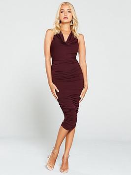 ax-paris-cowl-neck-ruched-side-dress-plum