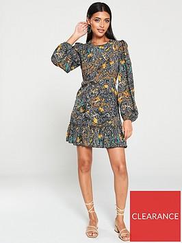 ax-paris-paisley-printed-frill-hem-dress-multi