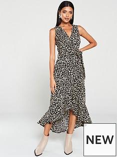 ax-paris-animal-print-wrap-dress-black
