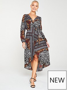 ax-paris-printed-wrap-dress-multi