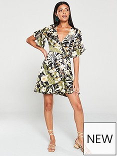 ax-paris-tropicalnbspprint-wrap-dress-black