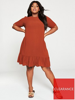 ax-paris-curve-drop-hem-plain-dress-rust