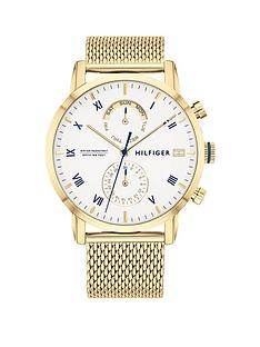 tommy-hilfiger-tommy-hilfiger-kane-white-sunray-dial-gold-stainless-steel-mesh-strap-mens-watch