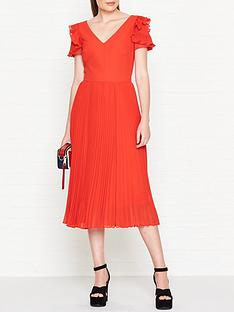 ps-paul-smith-frill-sleeve-pleated-dress-red