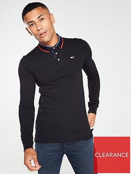 tommy-jeans-long-sleeved-stretch-slim-polo-shirt-black