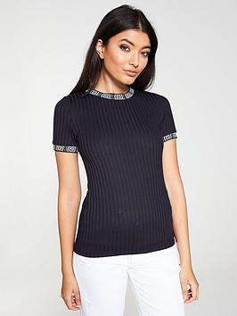 river-island-ribbed-tipped-t-shirt-navy