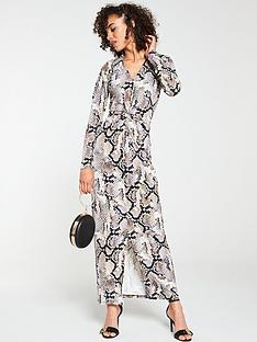 v-by-very-collar-animal-printed-maxi-dress-snake-print