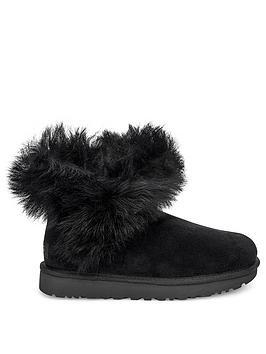 ugg-classic-premium-fluff-pin-mini-ankle-boots-black