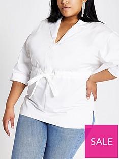 ri-plus-drawstring-waist-shirt-white
