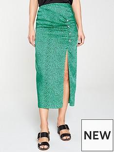93143ee9d3f9 River Island River Island Spot Print Ruched Split Midi Skirt- Green