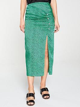river-island-river-island-spot-print-ruched-split-midi-skirt--green