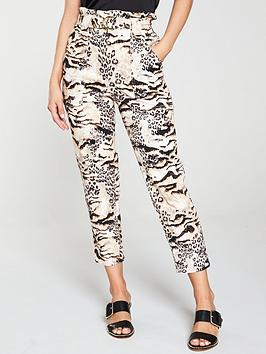 river-island-river-island-printed-paperbag-waist-trouser-brown