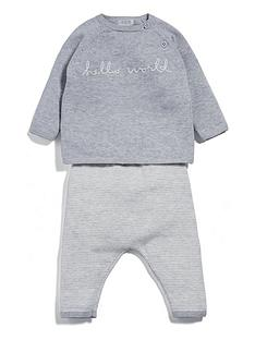 mamas-papas-baby-unisex-hello-world-knitted-outfit-grey