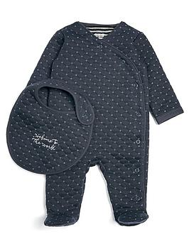 mamas-papas-baby-boys-quilted-sleepsuit-and-bib-set-navy