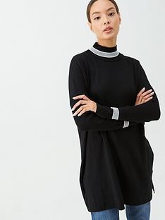 v-by-very-lurex-trim-high-neck-tunic-black