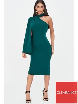 lavish-alice-one-shoulder-cape-midi-dress-emerald-green