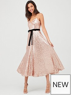 u-collection-forever-unique-sequin-midi-skater-dress-rose-gold