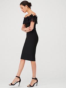 u-collection-forever-unique-bandeau-lace-trim-bodycon-midi-dress-black