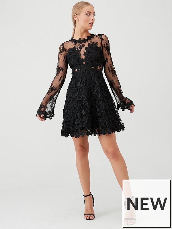 Long Sleeve Lace Skater Dress Black