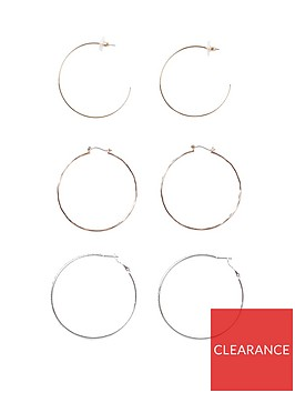 river-island-diamante-hoop-pack-gold