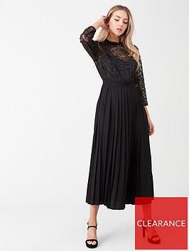 little-mistress-pleated-hem-midi-dress-black